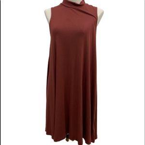 Silence + Noise Maroon turtleneck sheath dress